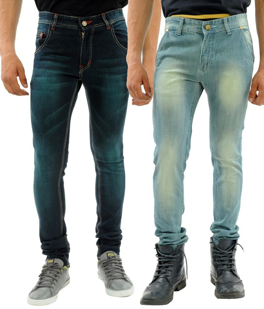Sny Hind Outfitters Gracious Combo of 2 Blue Slim Fit Jeans for Men