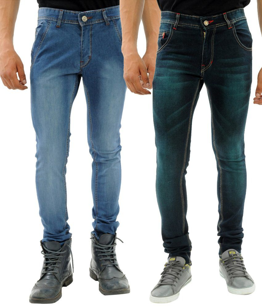 Sny Hind Outfitters Superb Combo of 2 Blue Slim Fit Jeans for Men