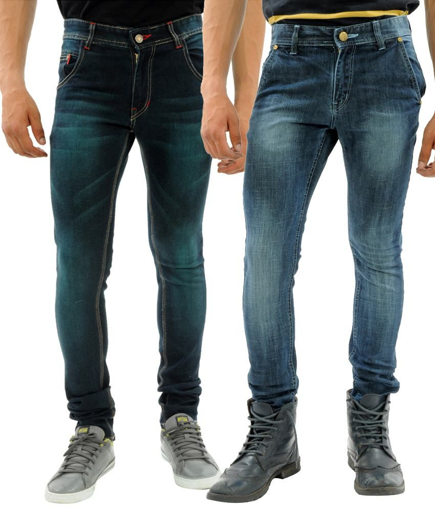 Sny Hind Outfitters Twisty Combo of 2 Blue Slim Fit Jeans for Men