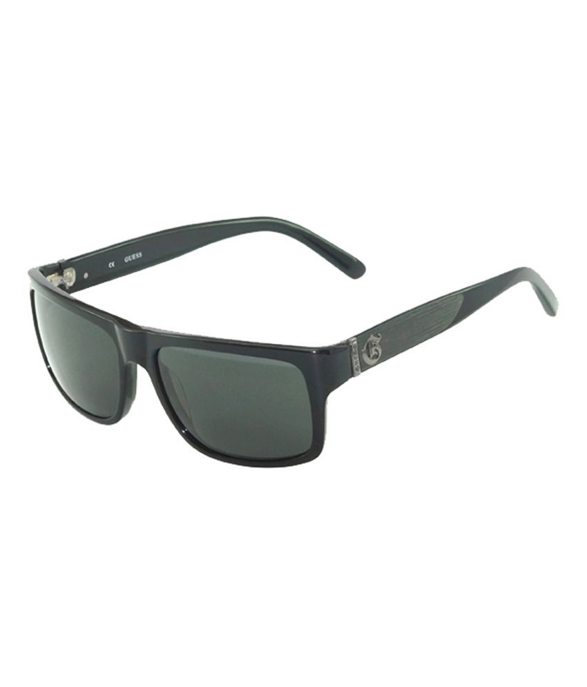 Guess Black Rectangle Non Metal Sunglasses