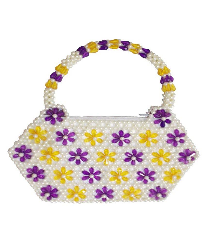 Rosy White Purple Crystal Handbag