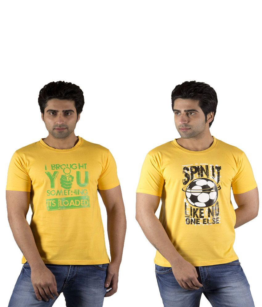 Schonheits Yellow Cotton Blend T-shirts (Combo Of 2)