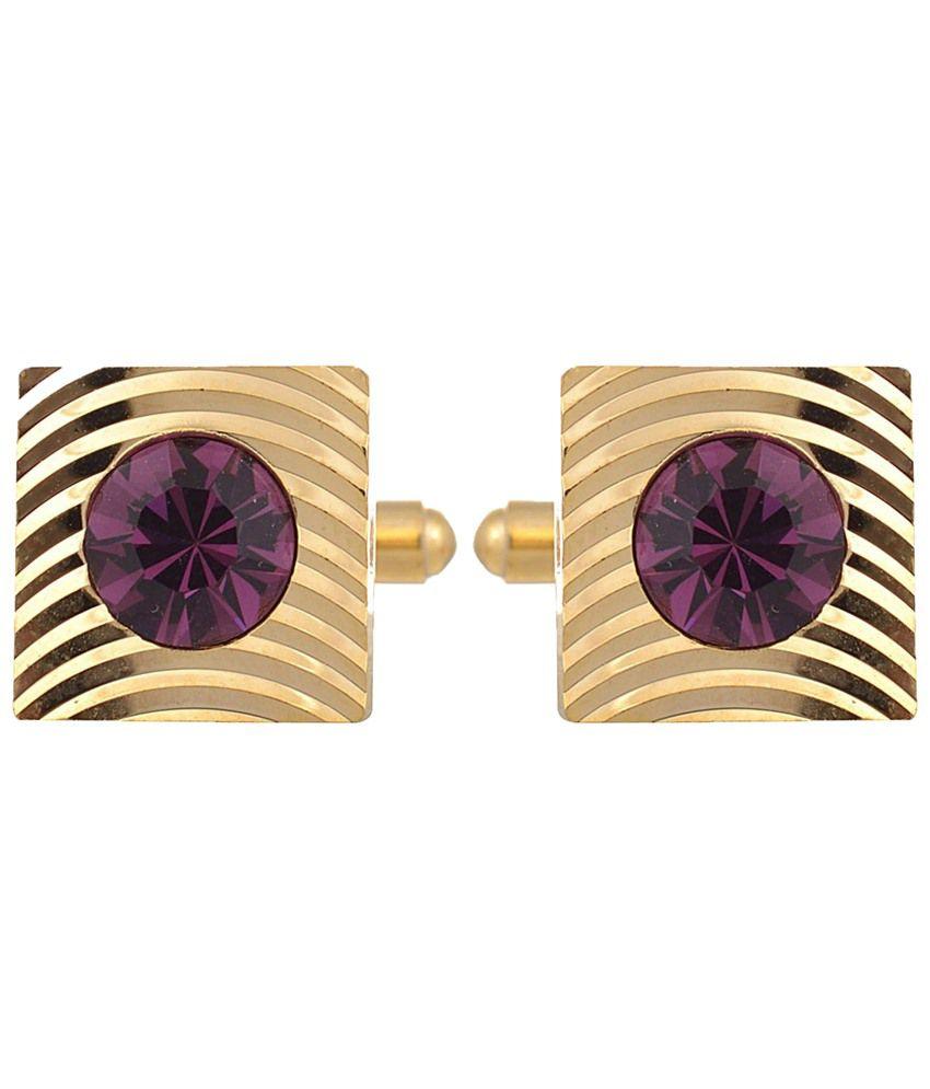 Tripin Golden & Purple Square Shaped Diamond Crystal Cufflinks for Men