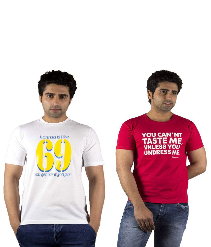Schonheits White And Red Cotton Blend T-shirts (Combo Of 2)