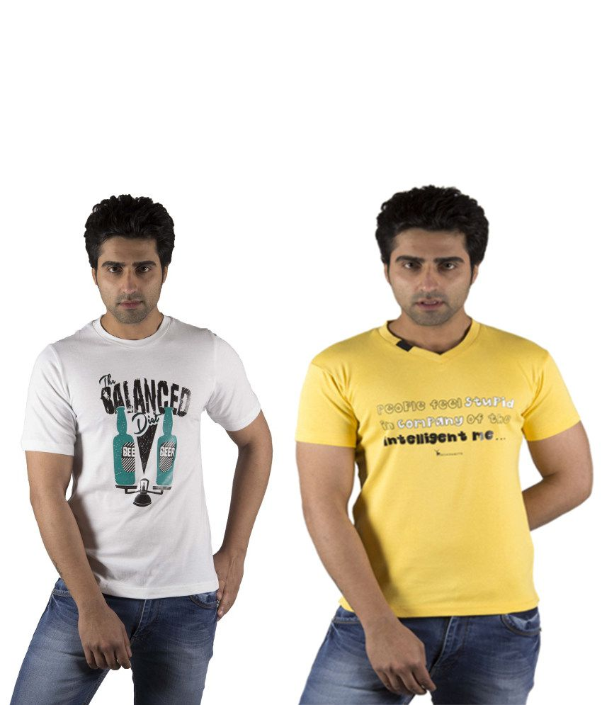 Schonheits White And Yellow Cotton Blend T-shirts (Combo Of 2)