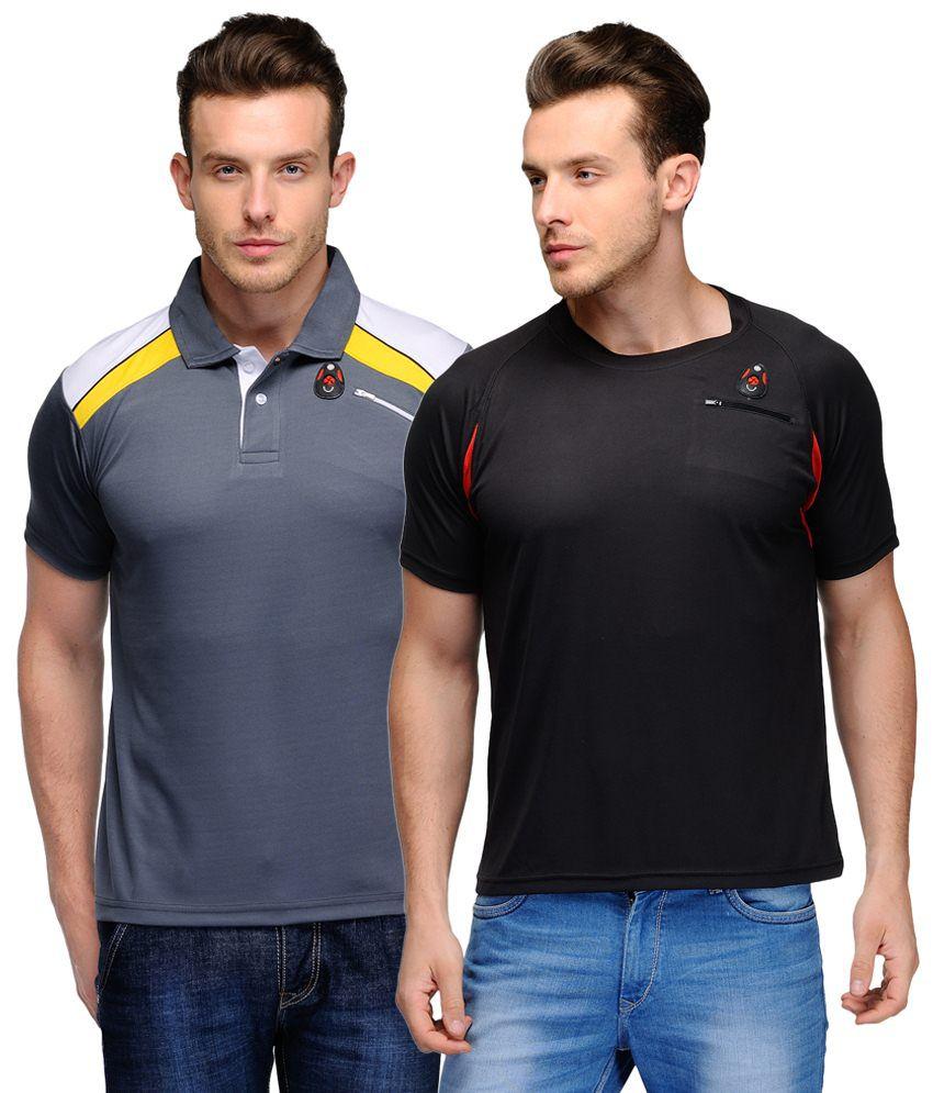 Scott Crackle Sulphur Dryfit Trendy Pack of 2 Gray & Black Half Sleeve T Shirts for Men