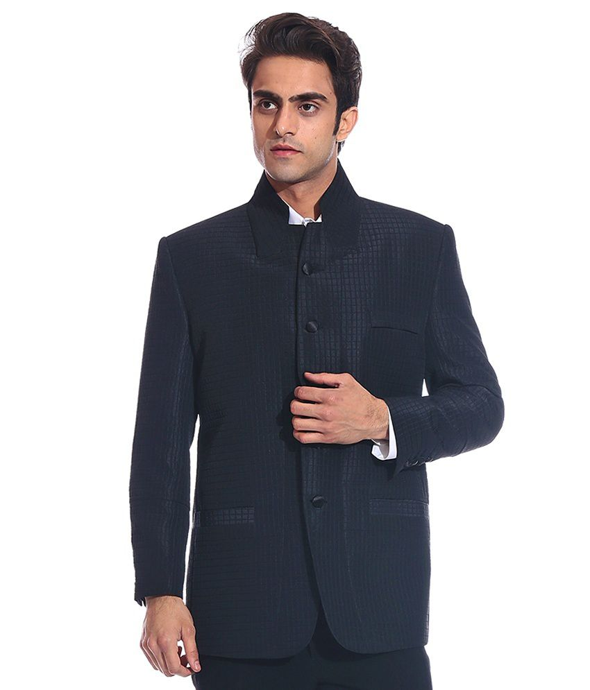 Tag 7 Black Rayon Blazer For Men