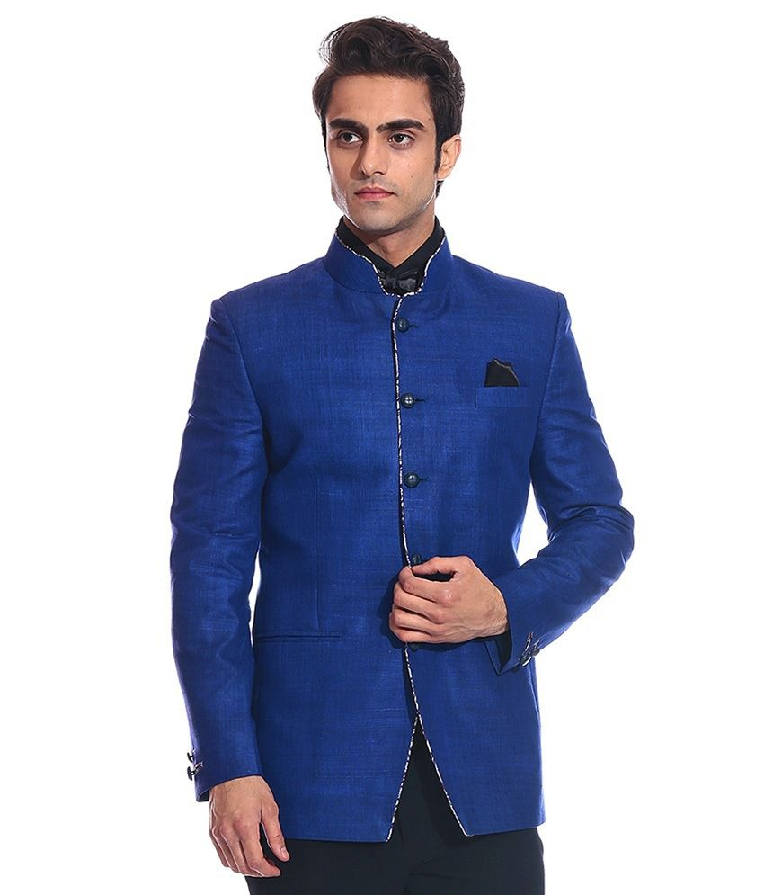 Tag 7 Blue Linen Blazer For Men