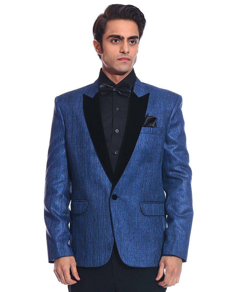 Tag 7 Blue Rayon Blazer For Men