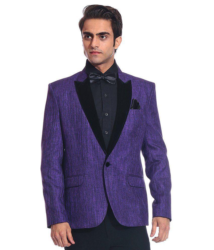 Tag 7 Purple Rayon Blazer For Men