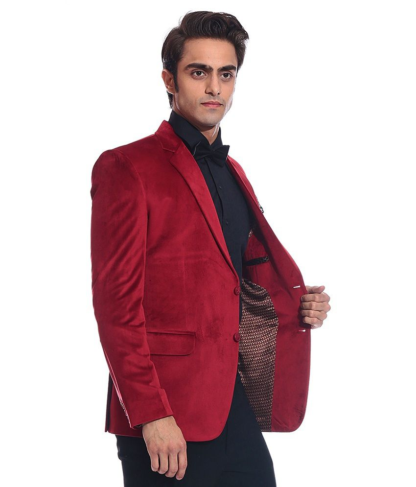 Tag 7 Red Velvet Blazer For Men - Buy Tag 7 Red Velvet Blazer For ...