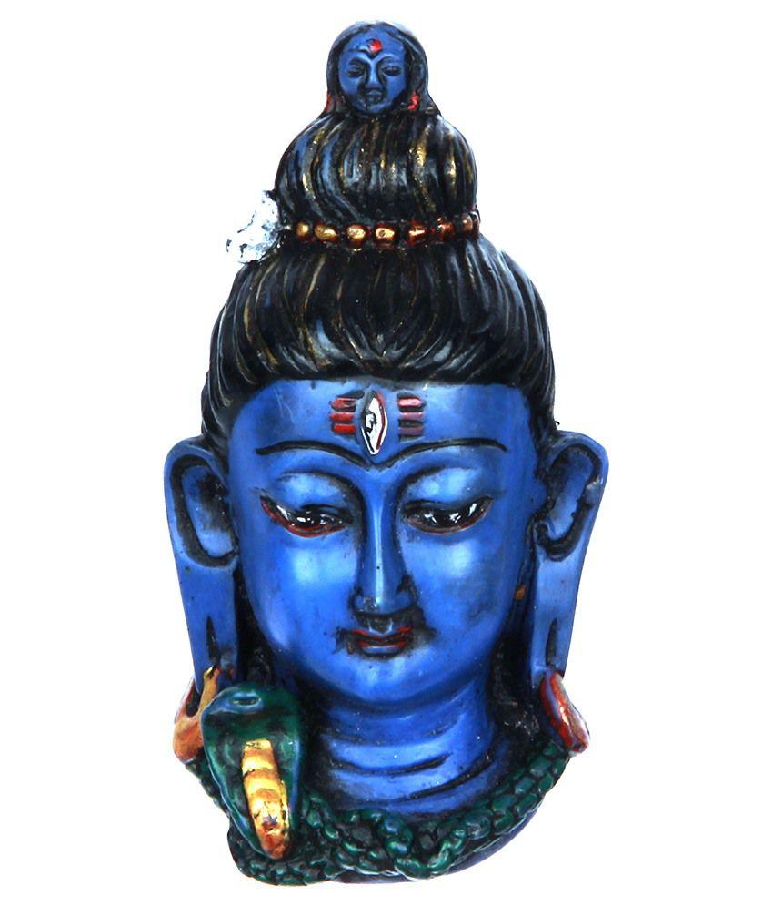 The Nodding Head Beautiful Lord Shiva Face Statue - Blue