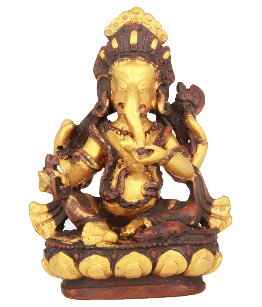 The Nodding Head Lord Ganesha Sitting on Lotus - Gold