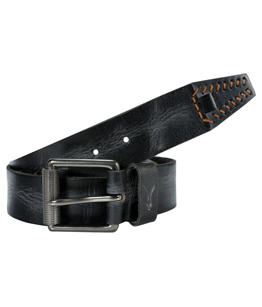Virtuoso Men Black Leather Belt