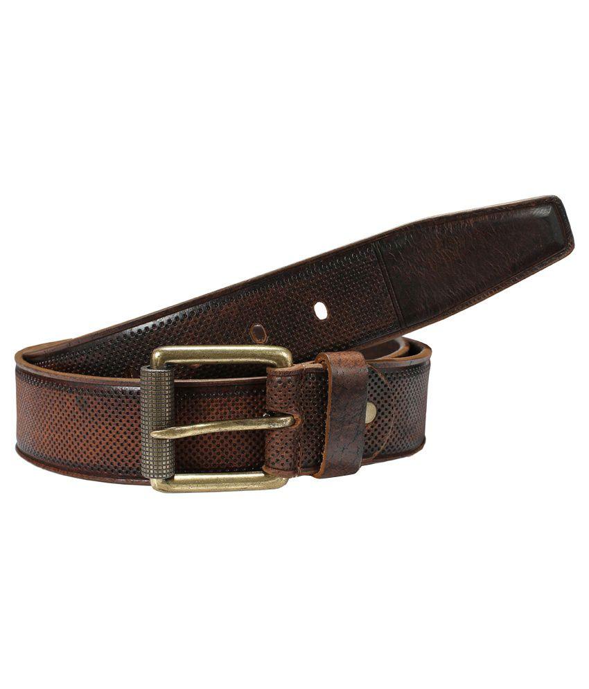 Virtuoso Men Brown Leather Belt