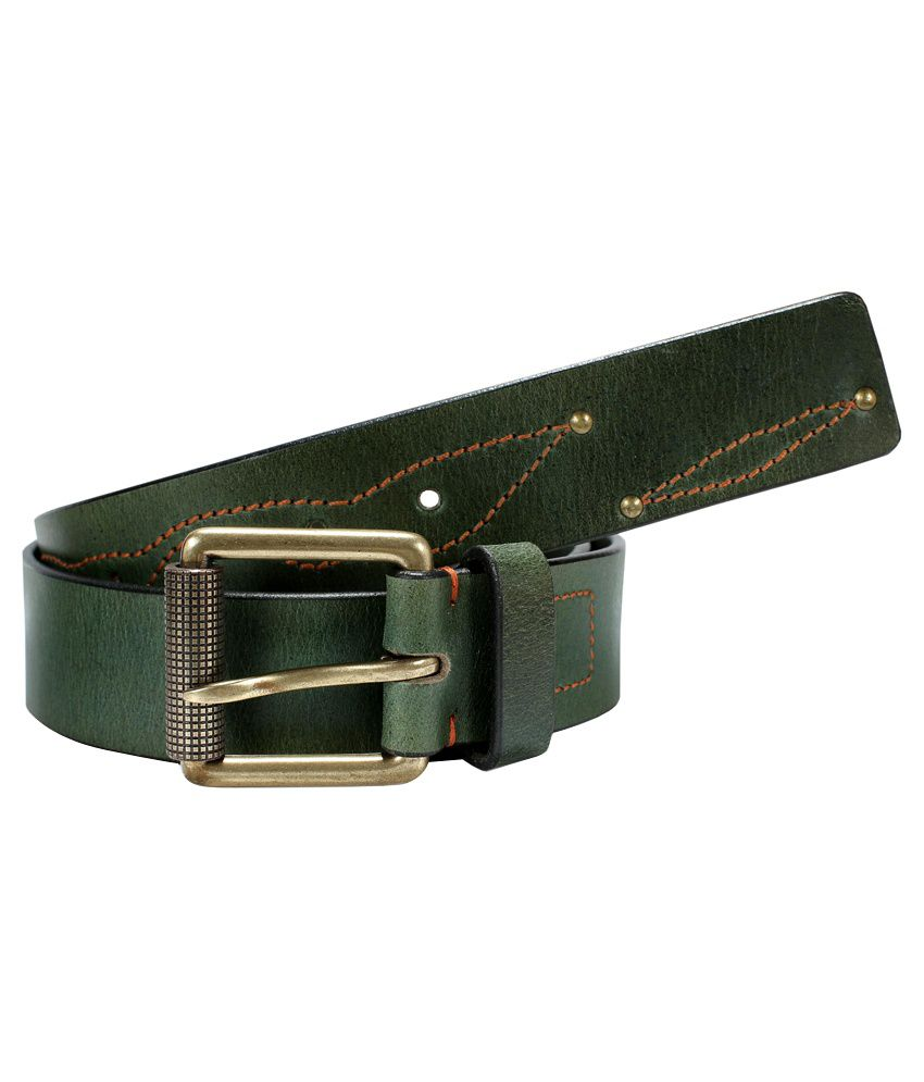 Virtuoso Men Green Leather Belt