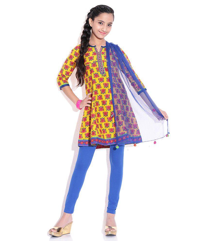 BIBA Ochre Cotton Salwar Suit for Kids