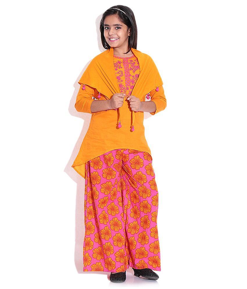 BIBA Orange Cotton Salwar Suit for Kids