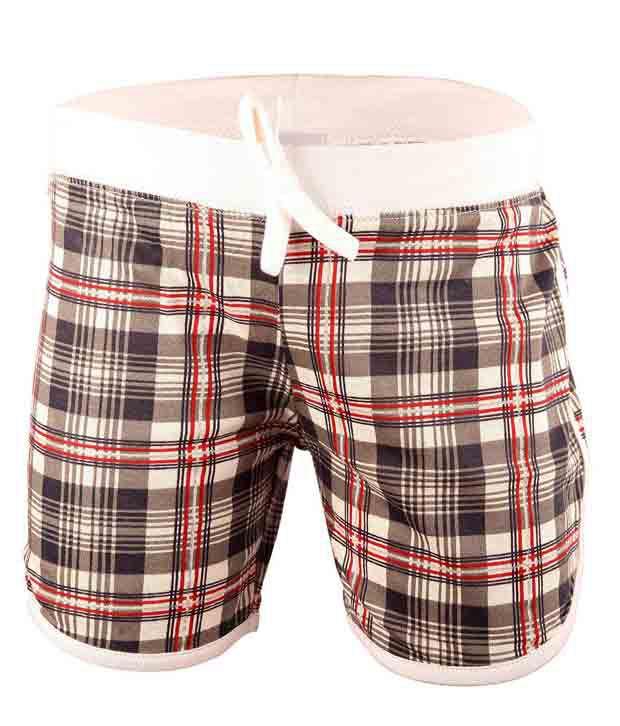 Bio Kid White Checks Cotton Shorts