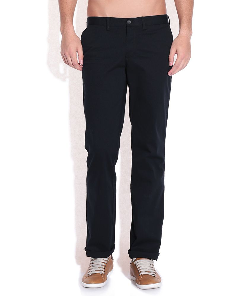 Indian Terrain Black Regular Fit Trousers
