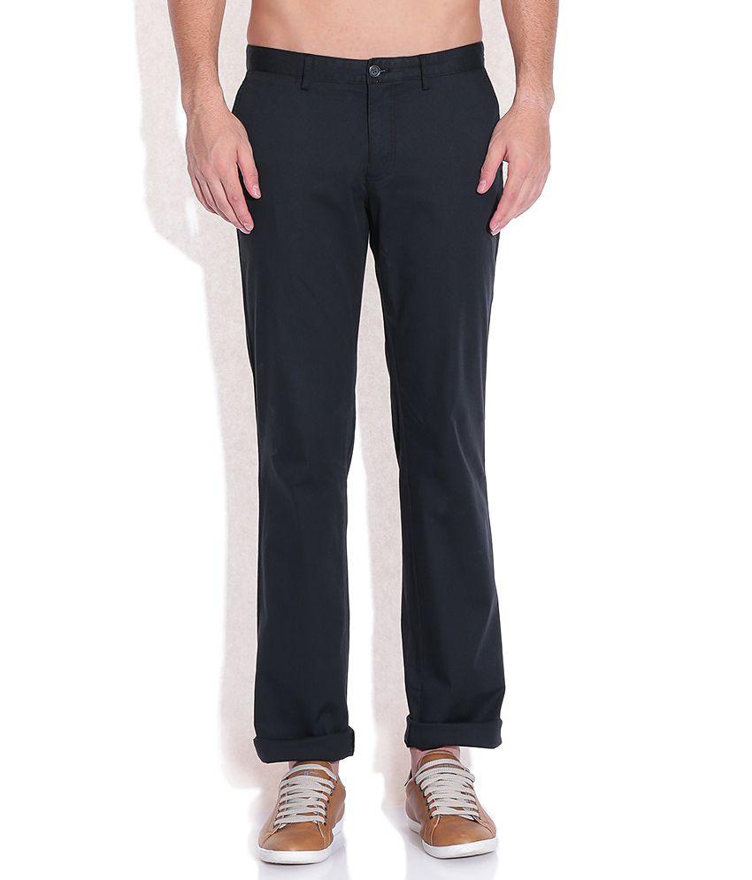Indian Terrain Black Regular Fit Trousers
