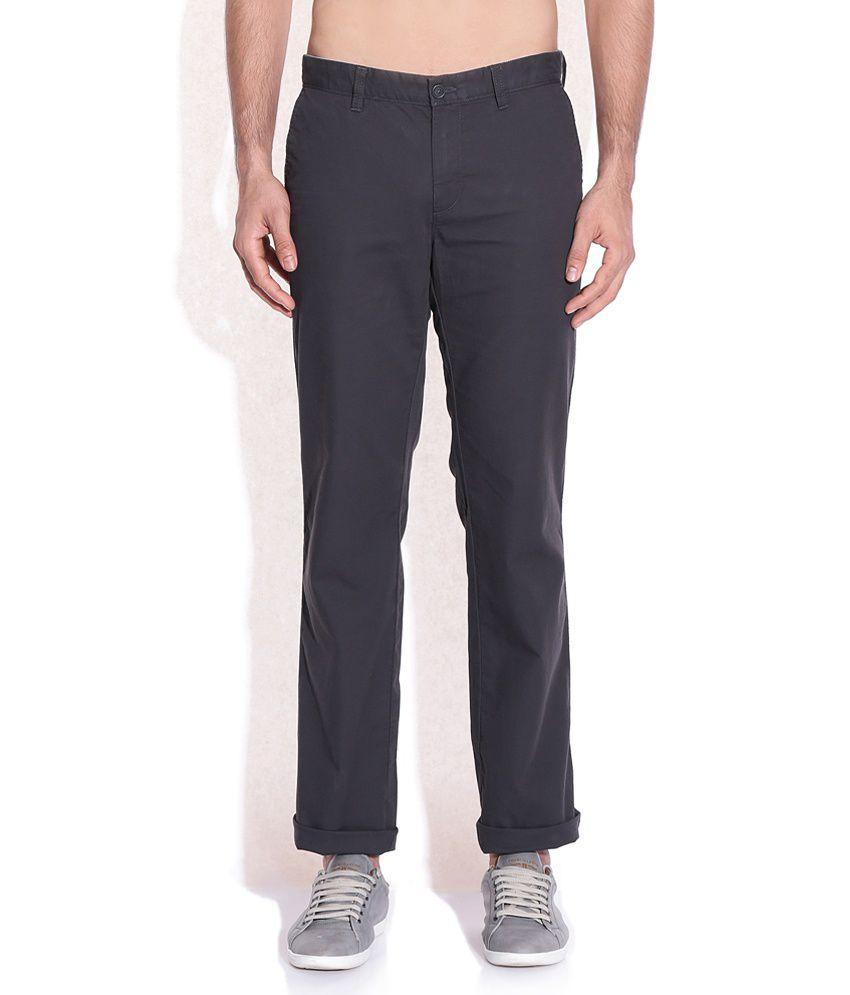 Indian Terrain Gray Regular Fit Trousers
