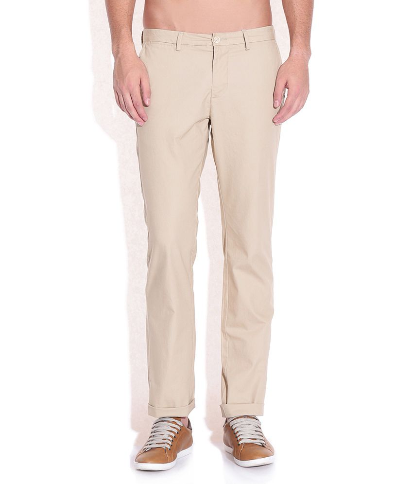 Indian Terrain Khaki Slim Fit Trousers