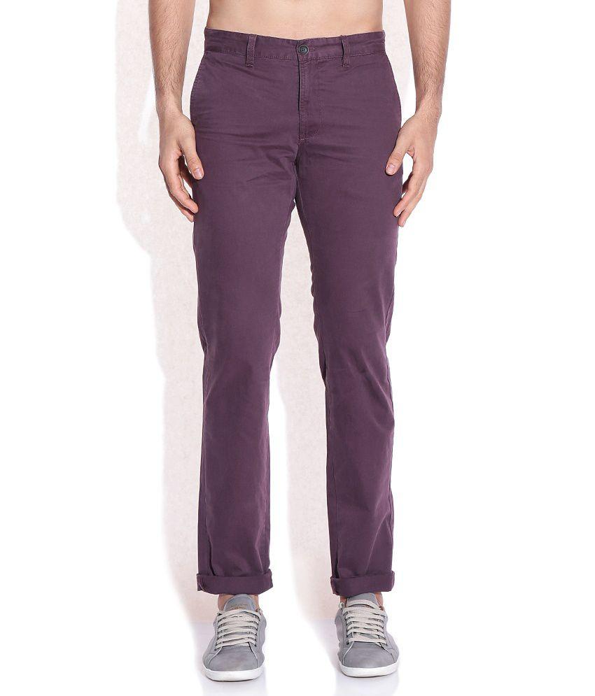 Indian Terrain Purple Slim Fit Trousers