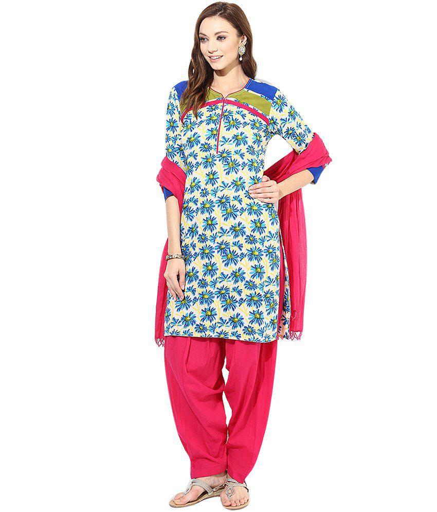 Jaipur Kurti Blue Cotton Stitched Suit