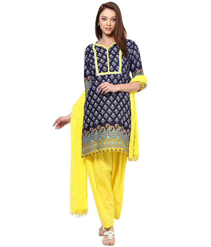 35e502c986 Jaipur Kurti Pure Cotton Off White Salwar Suit and Aqua Blue Patiala ...