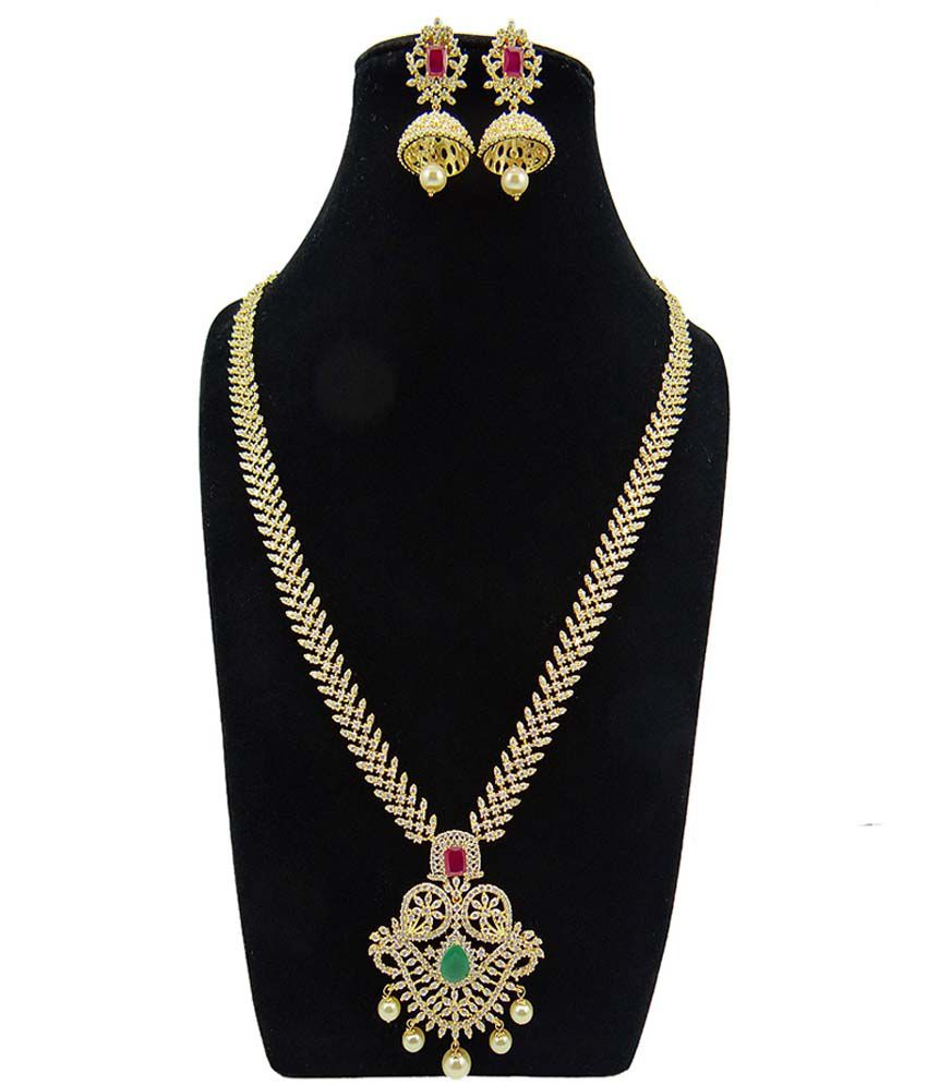 Mp Fine Jewellery Multicolor Alloy American Diamond Wedding Engagement Necklace Set Buy Mp Fine Jewellery Multicolor Alloy American Diamond Wedding Engagement Necklace Set Online At Best Prices In India