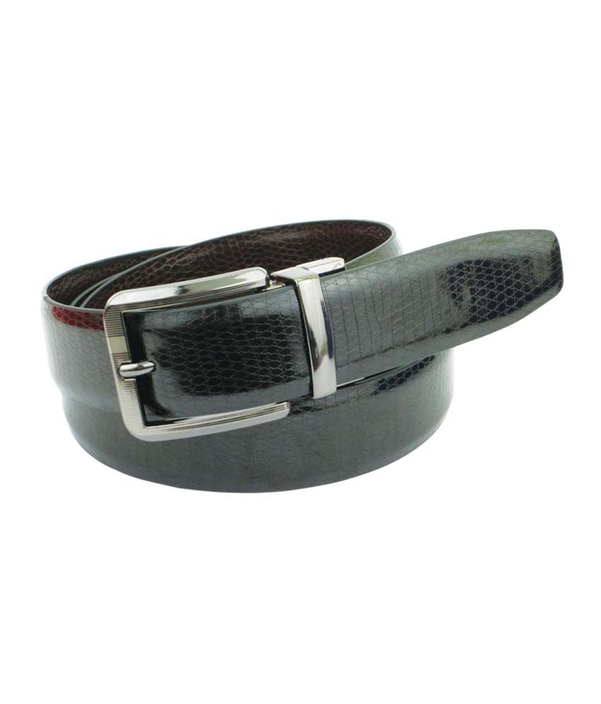 Abhinavs Black Formal Reversible Belt For Men