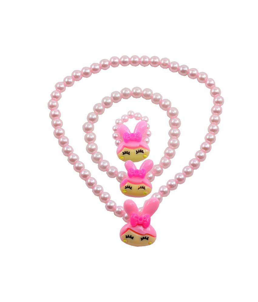 Angel Glitter Pink Pearl Princess Sleeping Pink Pearl Necklace Set