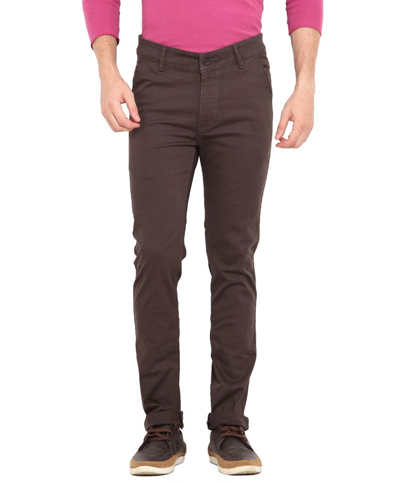 John Pride Brown Cotton Chinos Style Trouser