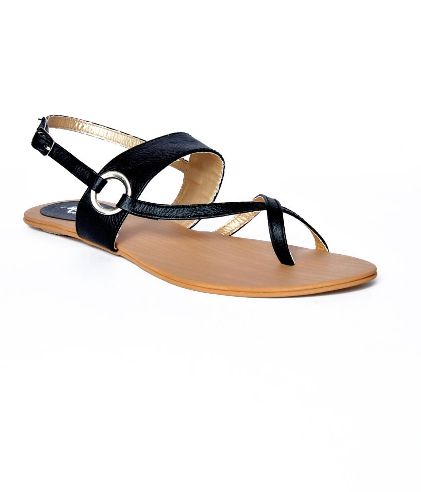 Marie Comfort Black Faux Leather Flat Women Sandal