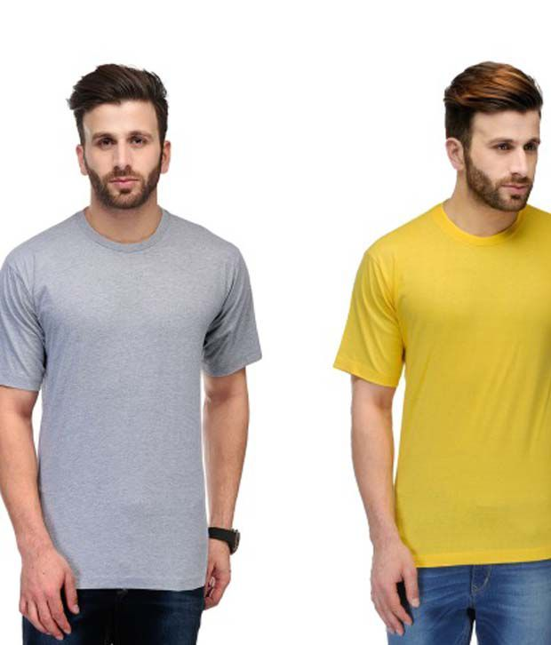 Ausy Multi Cotton Blend Round T-Shirt Combo Of 2