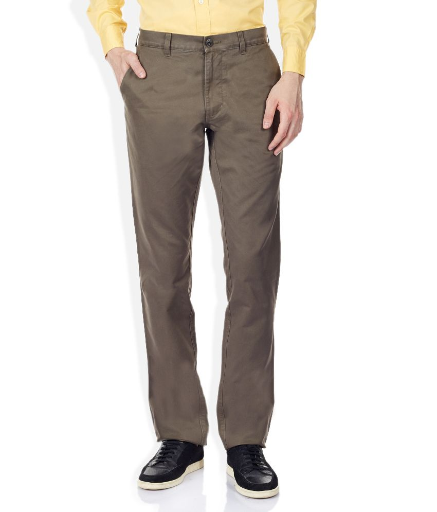 Burnt Umber Brown Casuals Flat Trousers