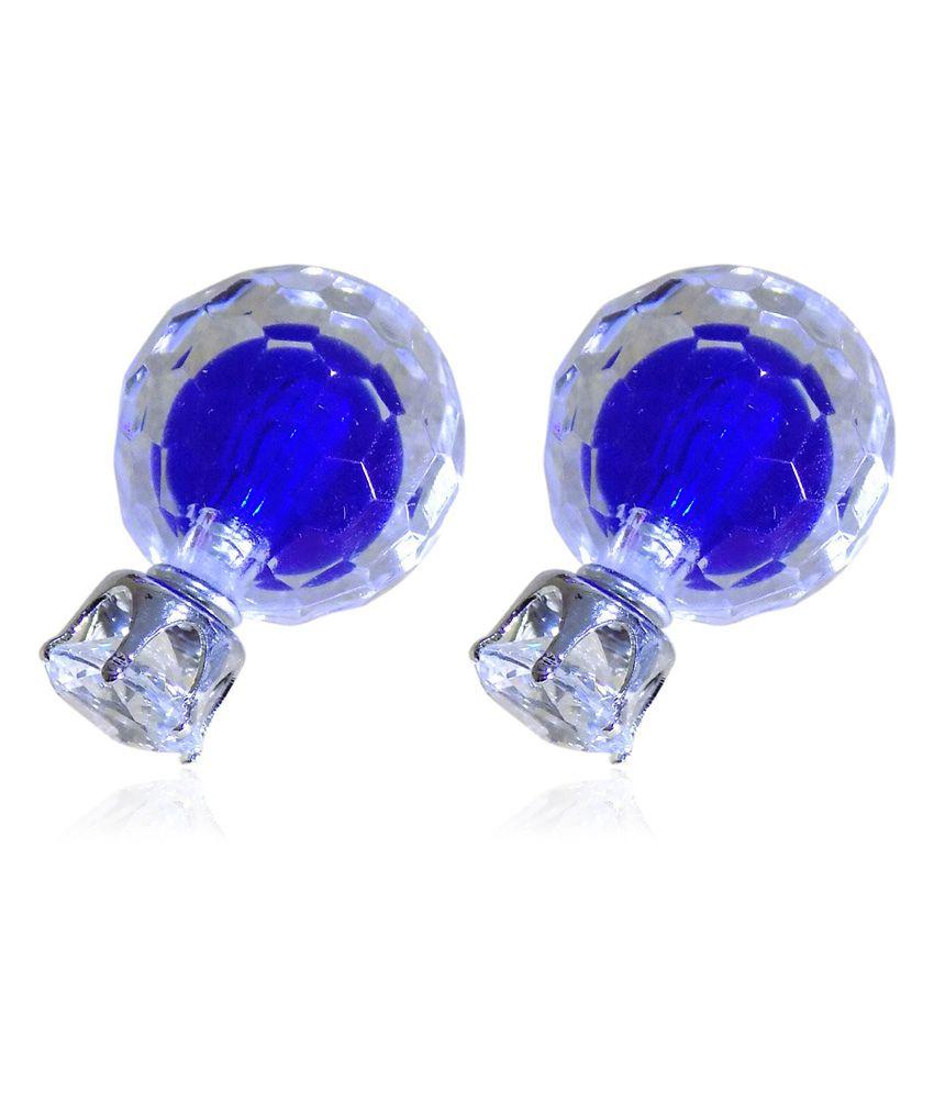 Optionsz Blue Alloy Crystal Studs
