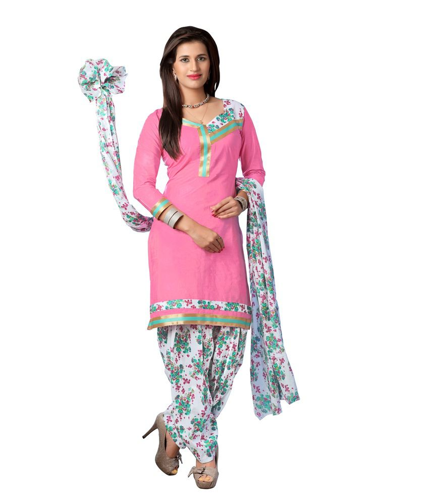 Radharani Pink Cotton Unstitched Dress Material