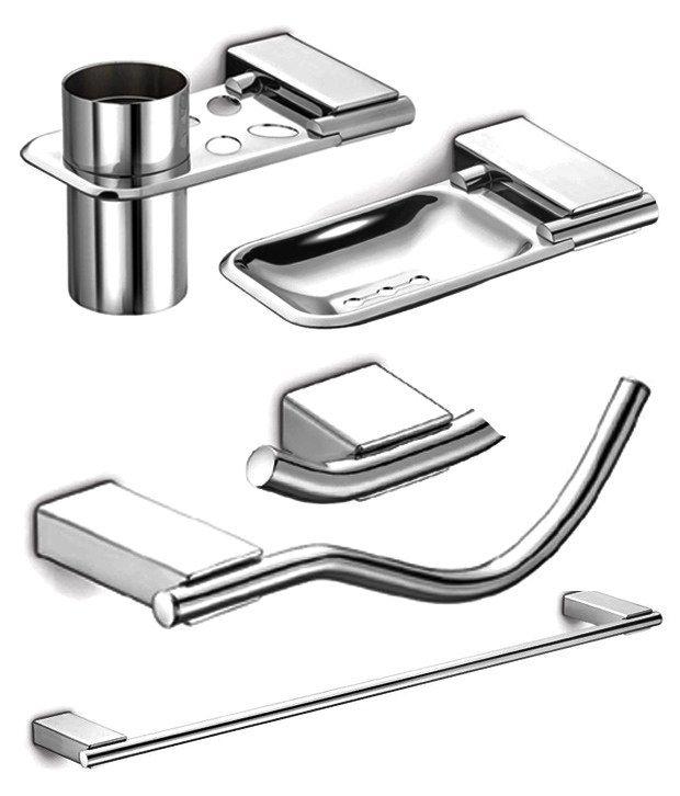 Buy dazzle bathroom accessories set of 5 piece high for Bathroom accessories set india