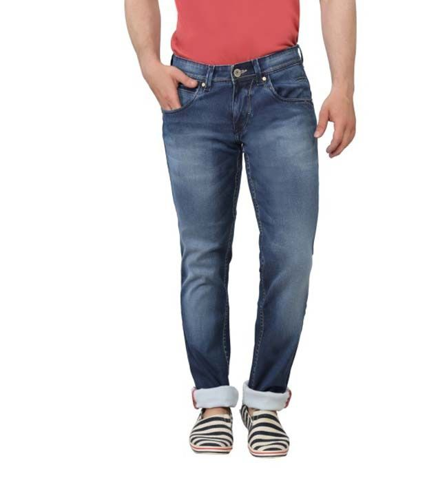 Ripfly Blue Cotton Blend Jeans For Men