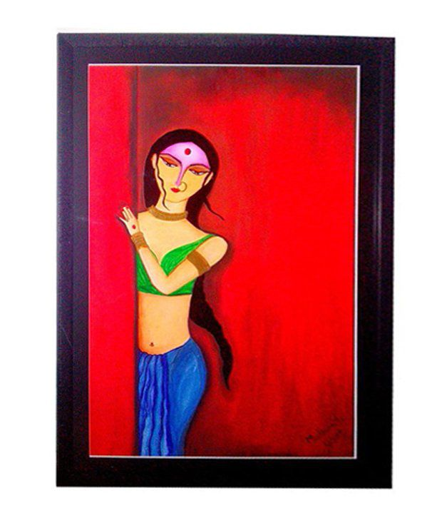 Artshaala Standing Lady Abstract Painting