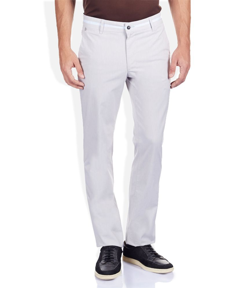 Raymond Off White Solid Flat Front Trousers