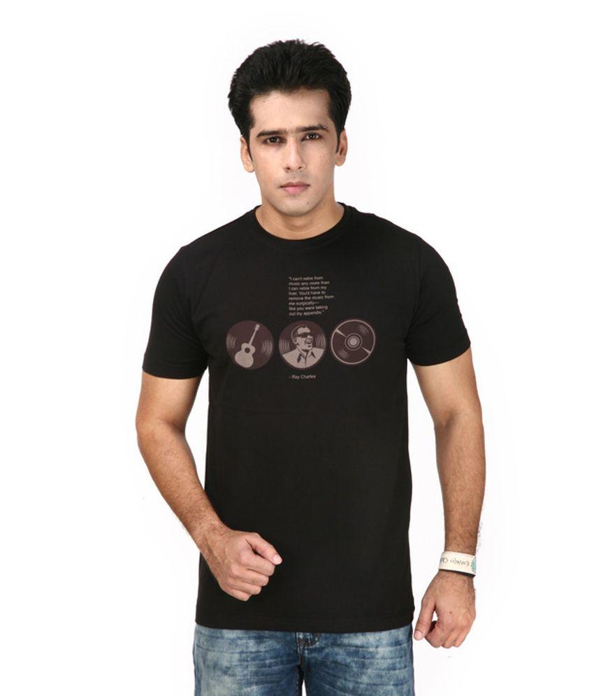 Uni Style Image Black Cotton T-shirt