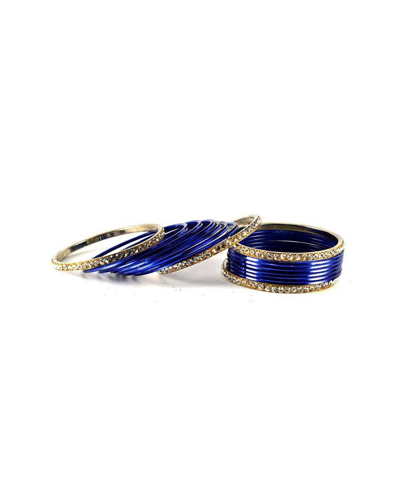 Vidhya Kangan Blue Brass and Copper Designer Kadas and Bangles Set