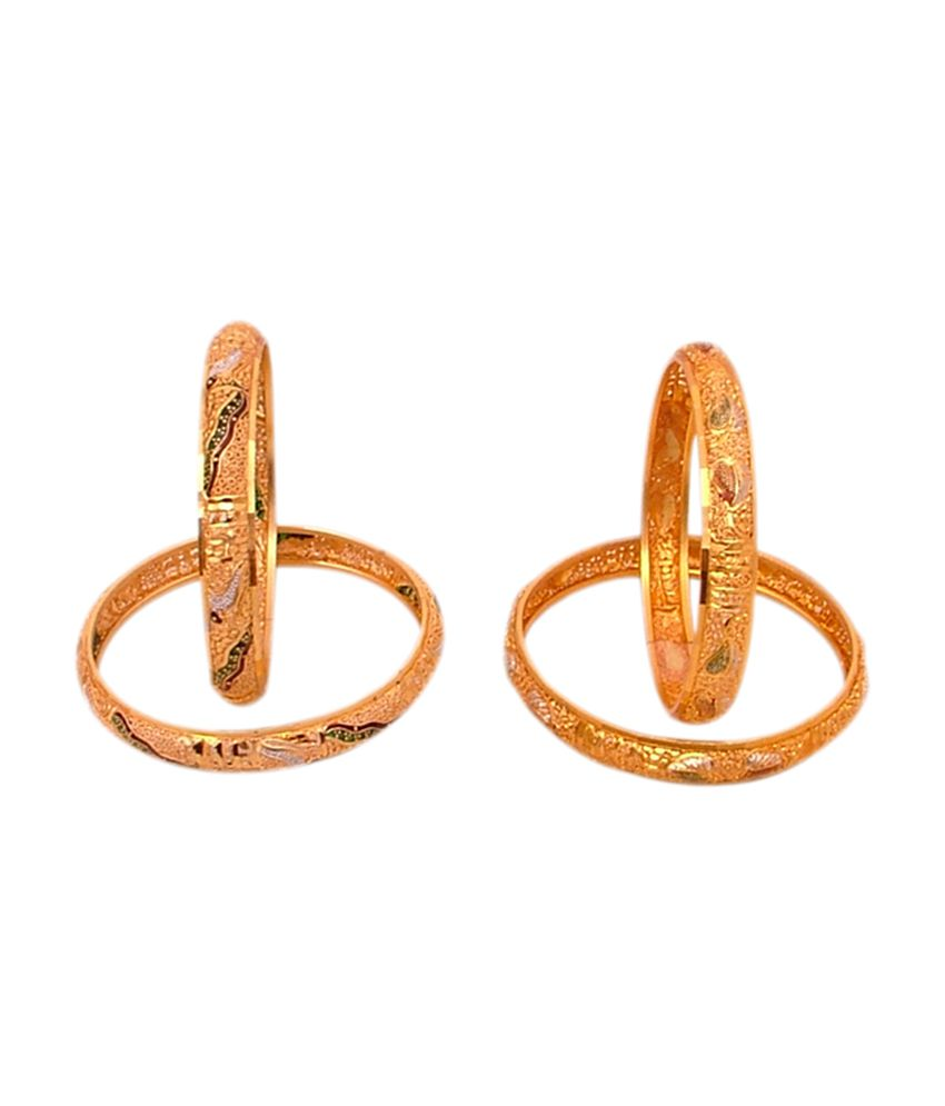 Yash Golden Brass and Copper Bangles with Minakari Work - Combo of 2