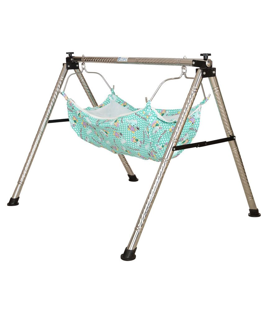 Cosmo Semi Folding Stainless Steel Ghodiyu Baby Cradle With Hammock