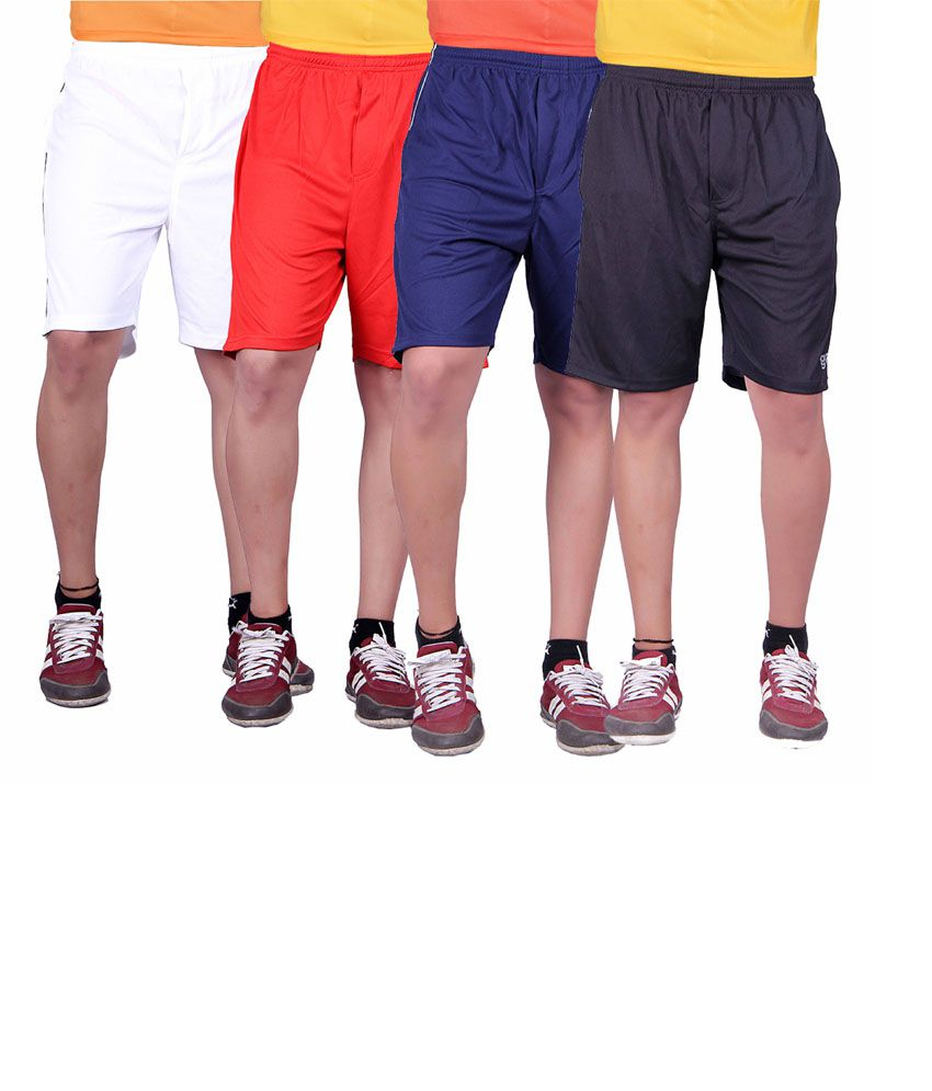 Gag Wear Multicolor Polyester Solids Men's Short - Pack Of 4