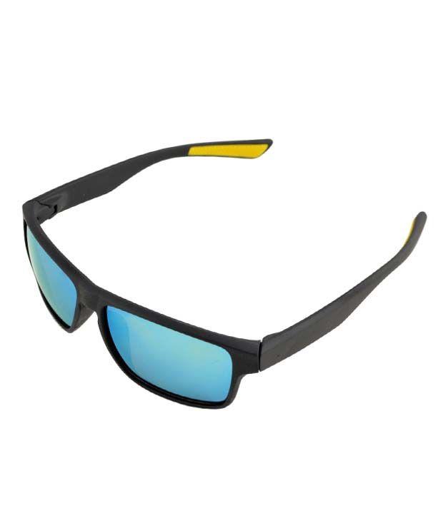 Lime Blue Lens Squared Black Sunglasses