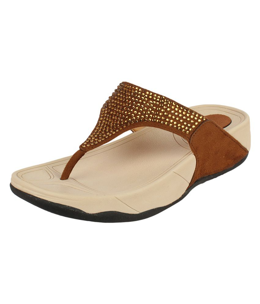 Niremo Tan Faux Leather Low Heel Wedges